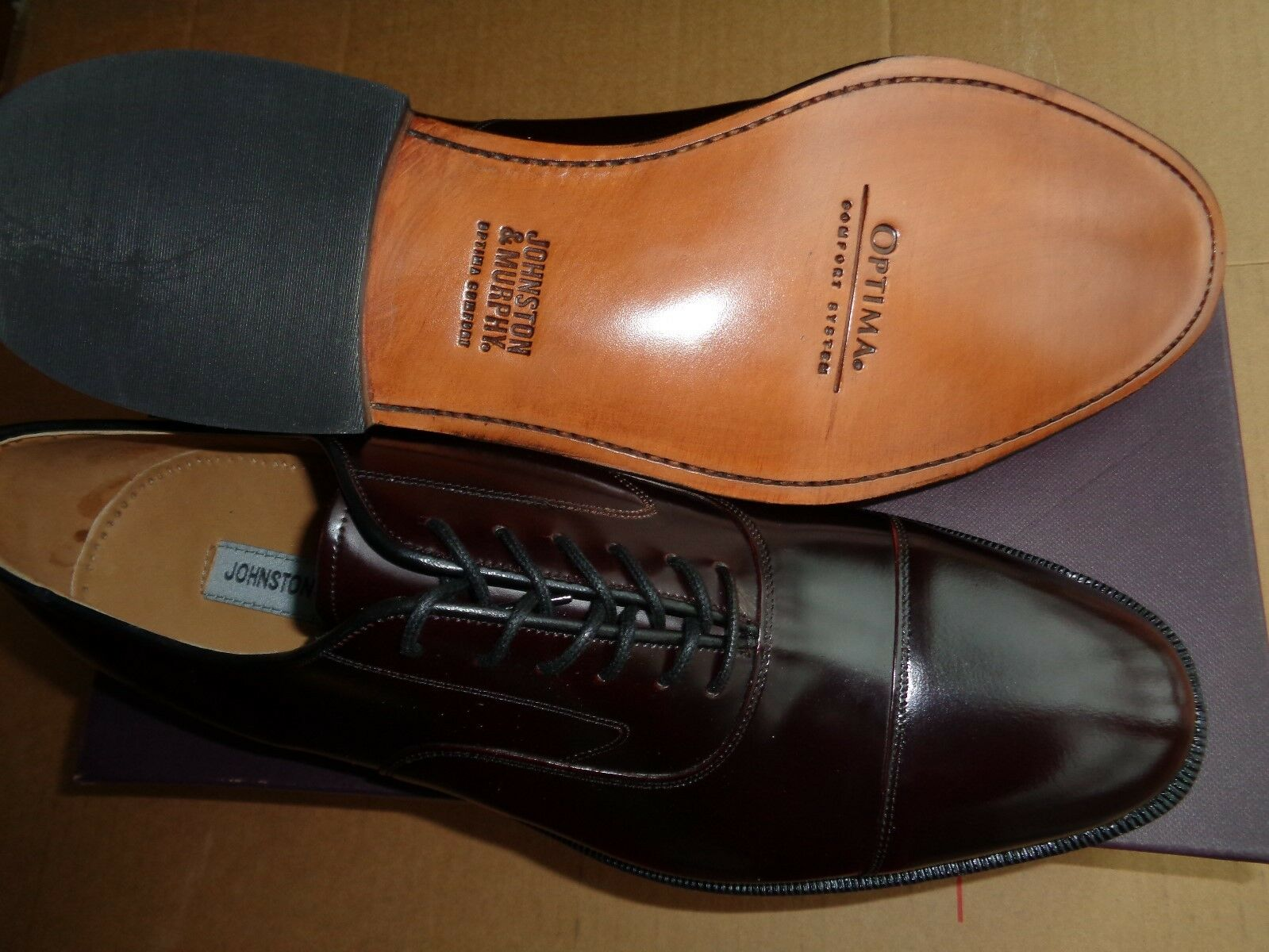 JohnstonΜrphy, Melton, burgandy, size 11.5D, genuine leather, new in box