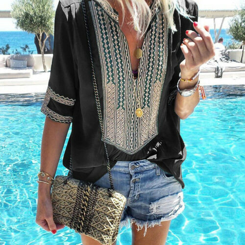 Plus Size Women Retro Boho Floral Blouse Long Bell Sleeve Top Ladies Tunic Shirt