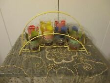 8 VINTAGE Floral MULTI-COLORED GLASSES WITH WIRE CARRIER  / TOTE / CADDY