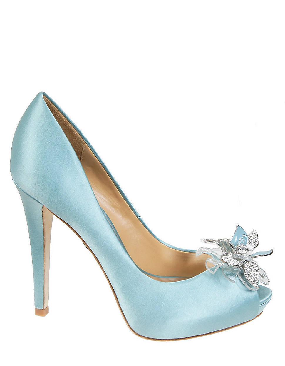 Badgley Mischka CLEONE wedding bridal open toe pumps Nile bleu chaussures 7,5 NEW