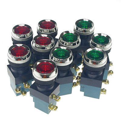 10 x Flat Head Light Illuminated Momentary Push Button Switch 25mm Mount 5A