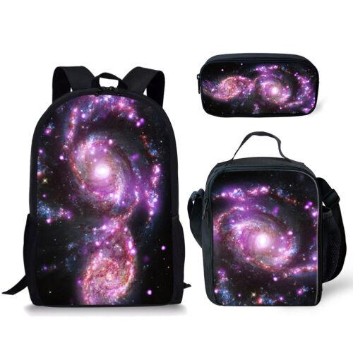 3pcs Galaxy Print Backpack Boys Girls School Lunch Box Pen Bag Travel Rucksack