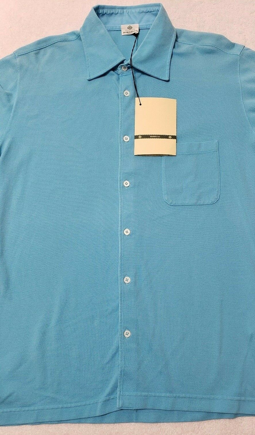 NWT Borrelli Napoli Mens 50 Aqua bluee Long Sleeve 100% Button Front Shirt