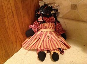 Vintage Handmade Black Americana Rag Doll Mauve Dress Stripes Apron NICE 11.5""