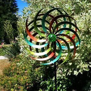 JENNY-grosses-Windrad-Windspiel-Metall-186-cm-46-cm-inkl-Solar-Leuchtkugel