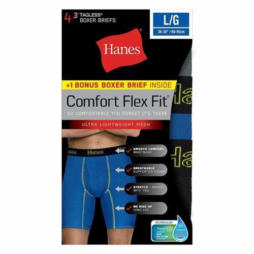 4-Pack Hanes Mens Comfort Flex Fit Breathable Mesh Long Leg Boxer Briefs S to 2X