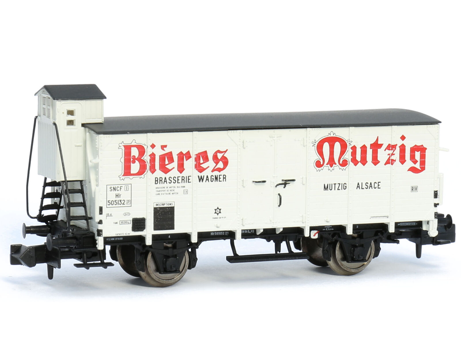 Brawa 67457 - Güterwagen Bierwagen Hlf Hlf Hlf BIERES MUTZIG SNCF Ep.III - Spur N - NEU caa389