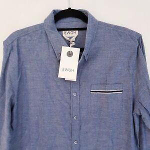 BWGH-Brooklyn-We-Go-Hard-Mens-Chambray-Shirt-Blue-Long-Sleeve-Cotton-Size-XL-NWT