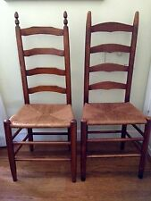 Antique Pair of Ladder Back Four Rung Rush Cane Seat Side Chairs - Nice!