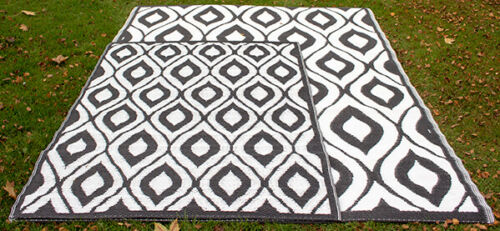 Garten Patio Outdoor Samti Rug in Black by Tabriz Rugs™ 1.8m x 2.5m