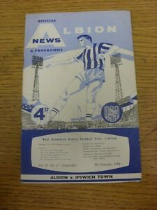 08-02-1964-West-Bromwich-Albion-v-Ipswich-Town-Heavy-Creased-Folded-Worn-Gr