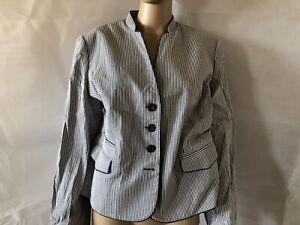 Viyella-Uk-18p-Eur-44-Blue-amp-White-Striped-Jacket-blazer-NWOT-83-Cotton