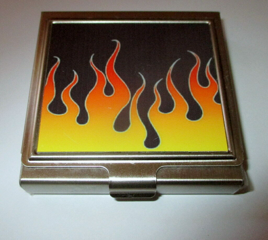 RETRO STYLE GRAPHIC FLAMES FIRE METAL CONDOM CARRY CARRYING TRAVEL CASE