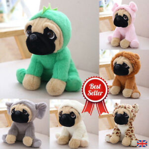 Doux-Grand-Peluche-Jouets-8-034-Carlin-Chien-7-Costumes-Cuddly-Teddy-Plush-Animal