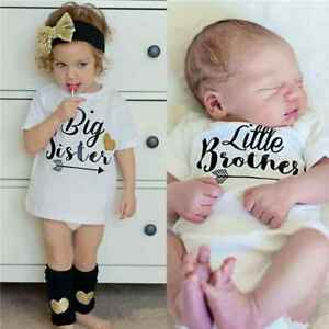Family Little Sister Matching Romper Big Brother Printed Tops Cotton Outfits