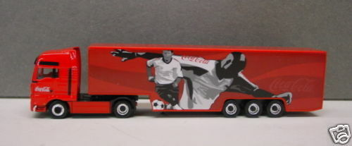 """Lemke MAN Coca Cola Truck Modell /"""" Fussball /"""" 1:87 Spur H0  NEU OVP"""