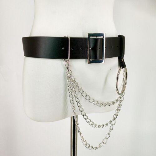 Men Women Punk Faux Leather Belt Laser Metal Chain Hoop Rings Waist Black Strap