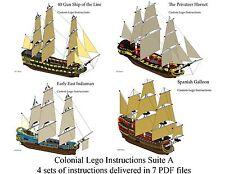 Lego Pirate Imperial Armada Inst. Suite A ManOWar, Privateer, Indiaman, Galleon