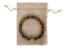 Brass Buddha Head, Tigers Eye Beaded Semi Precious Bracelet & Jute Gift Bag