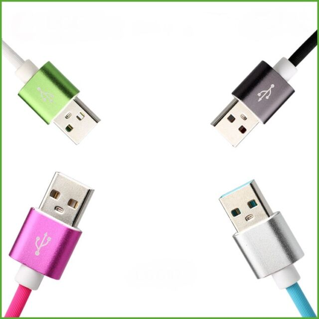 Bundle of 3 fast charging micro USB cables for Android (green, blue and pink)