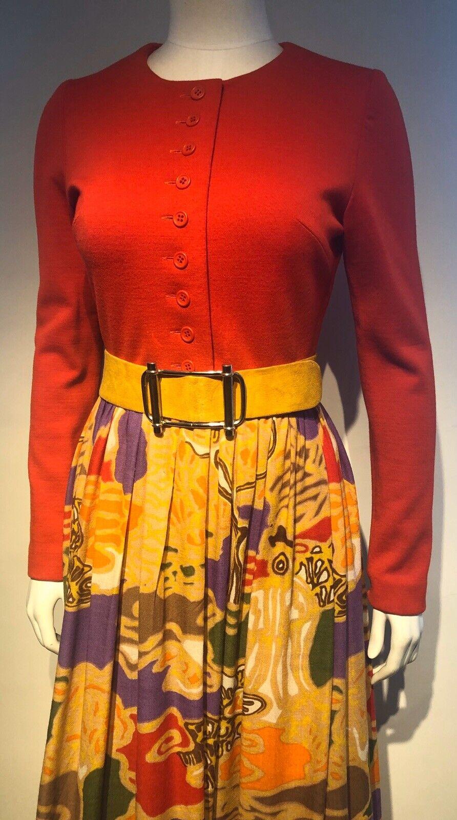 Vintage 1970s LANVIN Graphic Print Skirt Dramatic… - image 3