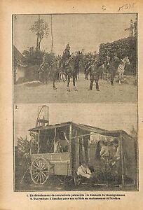 Cavalerie-Patrouille-Renseignement-Voiture-Douche-Poilus-WWI-1915-ILLUSTRATION