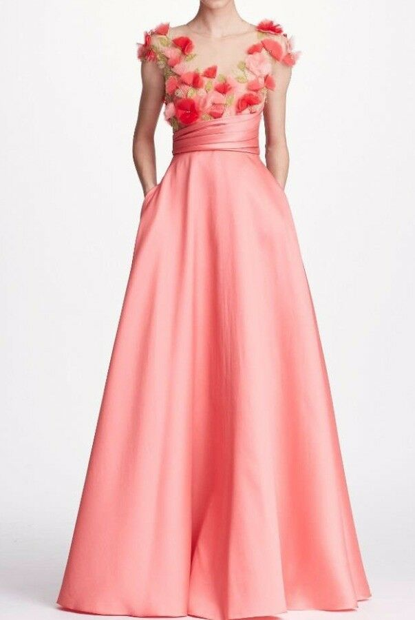 New Marchesa Notte Pink Cap Sleeve Mikado Gown Dress 3D Flowers 2 4 6 8 10