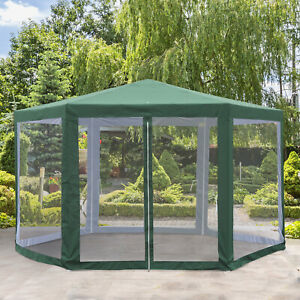 Outsunny Φ13' Outdoor Party Tent Hexagon Patio Gazebo Pavilion Green