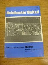 11/09/1973 Colchester United v Reading  (Crease, Fold, Team Changes). Thanks for