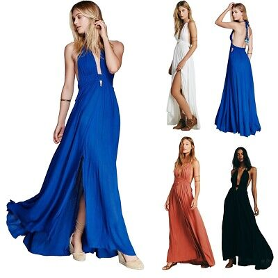Ärmellos partykleider damen lange rückenfrei kleid maxikleid mode abendkleider  ebay