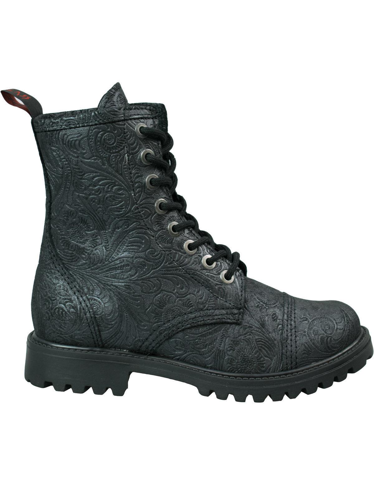 Aderlass 8-loch Boot Stiefel Gothic Leather Brocade Schwarz Brokat Gothic Stiefel #5000 e57990