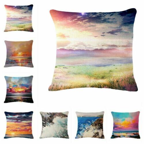 18/'/' Dusk scenery Linen Cotton Throw Pillow Case Cushion Cover Home Sofa Decor