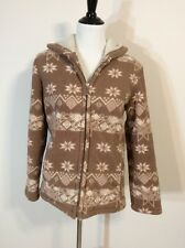 OutBrook Tan & White Nordic Print Warm Fleece Hooded Coat Size S 4/6