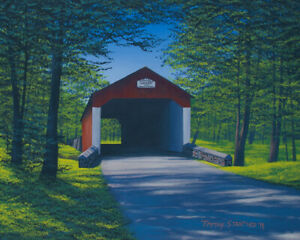 Original Acrylic Painting Red Covered Bridge 16x20 Landscape by Timothy Stanford