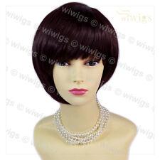 Wiwigs Asymmetric Short Brown & Burgundy Bob Skin Top Ladies Wig
