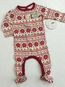 0e475aa83aa0 Burts Bees Baby Girl Coverall Family Pajamas Size 3 6 9 Months Red ...