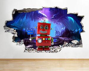 C393-Roboter-Hallo-Jungen-Bett-r-Wandaufkleber-Wandsticker-Kinderzimmer-3D