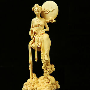 Boxwood-Wood-Carving-Chang-039-e-Statue-Mythological-Figure-Sculpture-Collection-New