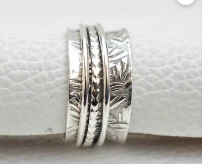 925 Sterling Silver Band Spinner Ring Meditation Handmade Jewelry All Size #13