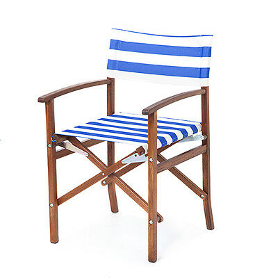 Blue White Stripes Director Chair Replacement PU Coated Canvas Covers Garden