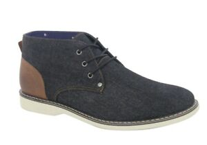 george men's black denim memory foam chukka midtop casual