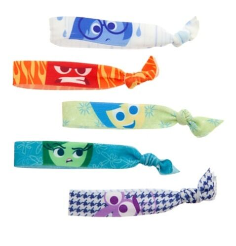 Disney Authentic INSIDE OUT Girls Hair Tie Set Joy Sadness Anger Fear Disgust