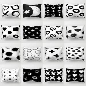 Am-Black-amp-White-Heart-Circle-Throw-Pillow-Case-Cushion-Cover-Home-Decor-Intrig
