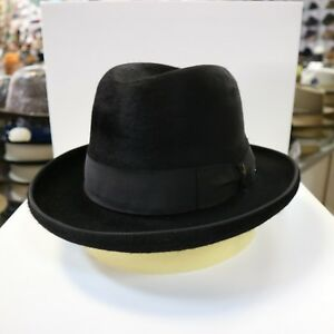 BORSALINO BLACK LONG HAIR FUR FELT HOMBURG DRESS HAT  READ BELOW 4 ... 57633ed5818