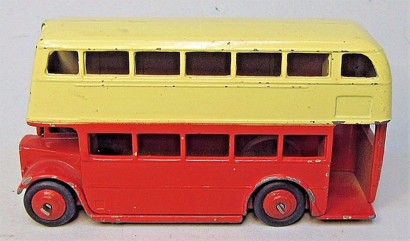 Década de 1950 Dinky Doble Decker Autobús Rojo Amarillo Diecast X