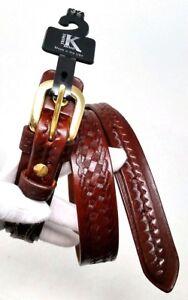 Triple-K-53S-Ranger-Basket-Weave-Belt-Walnut-Oil-32-034-x-1-1-4-034-Genuine-Leather