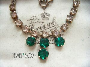 VINTAGE-JEWELLERY-EMERALD-GREEN-CRYSTAL-CLEAR-RHINESTONE-NECKLACE-SPECIAL-GIFT