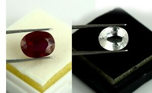 White Sapphire & Ruby 17-19 Ct Oval Natural Gemstone Pair Certified Wedding Gift