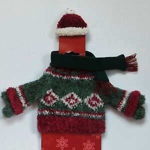 Details about Holiday Wine Bottle Dressing Ugly Christmas Sweater w Hat Merry Brite Grab Gift