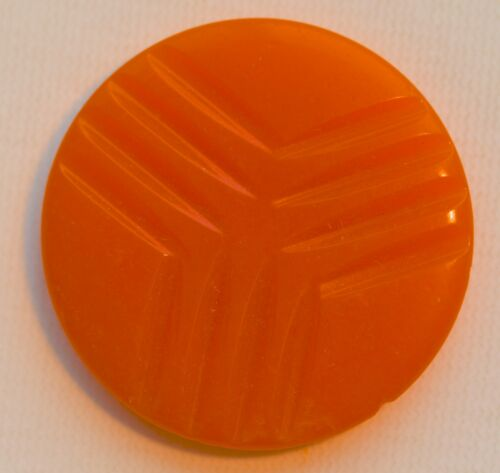 """O109//  12 VINTAGE ORANGE PLASTIC CASEIN BUTTON FLAT SHANK 1 1//8/"""" QUANTITY DSCNT"""